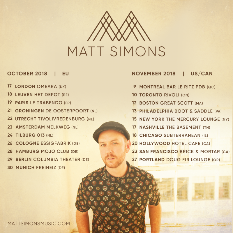 US/Canada Tour 2018 - Updates of Matt Simons